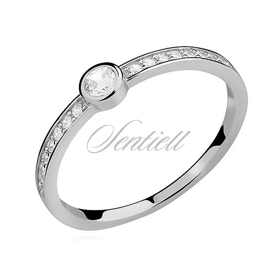 Silver (925) subtle ring with zirconia