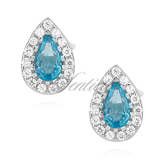 Silver (925) teardrops earrings with aquamarine zirconia