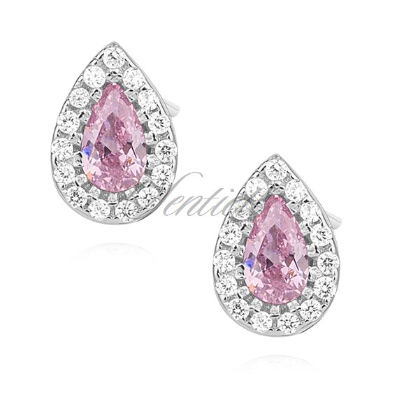 Silver (925) teardrops earrings with light pink zirconia