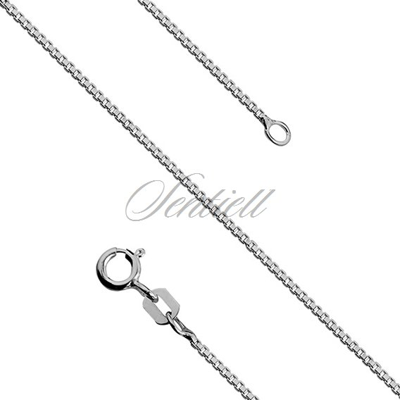 Silver (925) Venetian box chain Ø 010, diamond-cut,  rhodium-plated