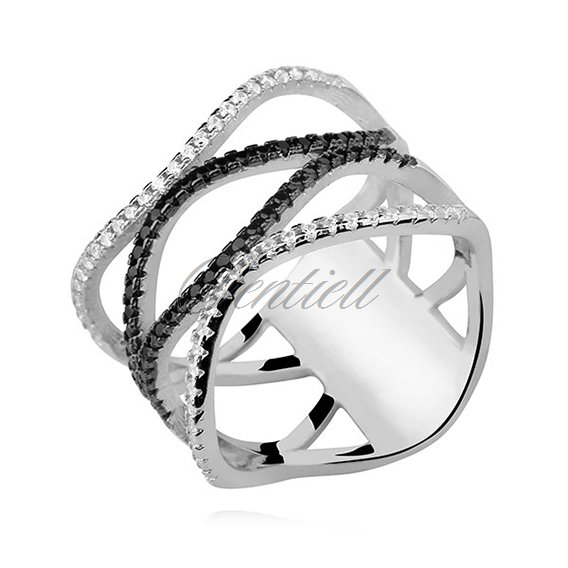 Silver (925) wavy ring with white&black zirconia