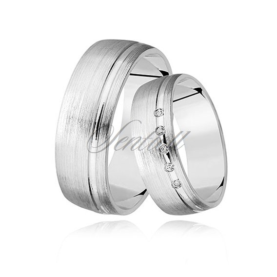 Silver (925) wedding ring, satin with zirconia