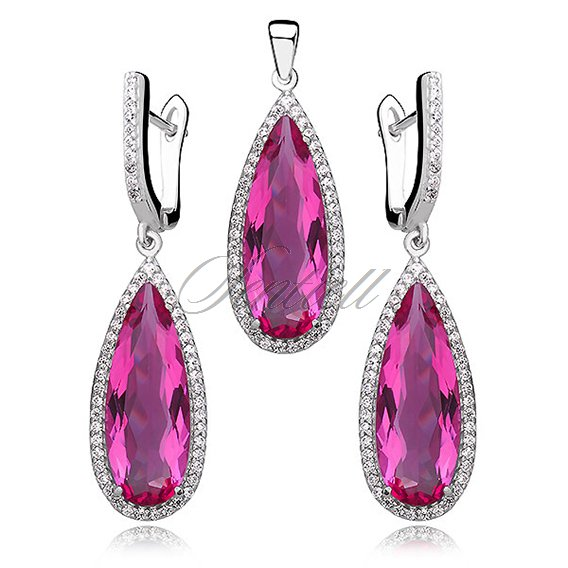 Silver Set (925) big ruby teardrop zircon