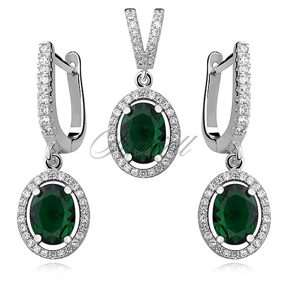 Silver Set (925)  oval emerald zirconia