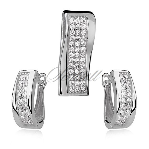 Silver Set (925) stylish zirconia - white