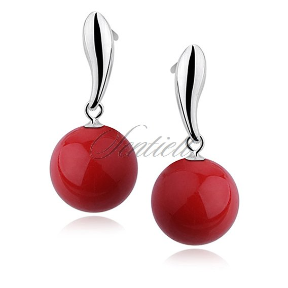 Silver earrings 925 balls - red
