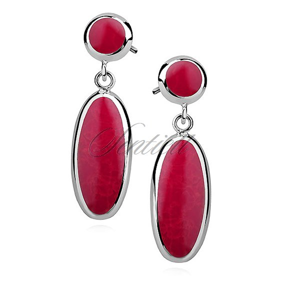 Silver earrings 925 charm - oval - coral