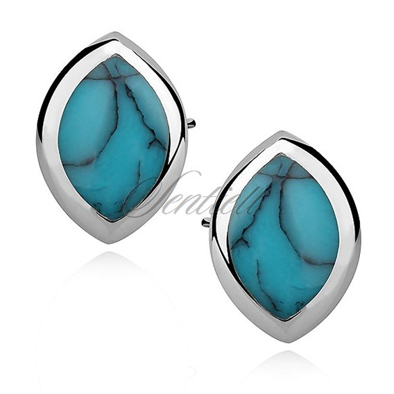 Silver earrings 925 marquise - turquoise