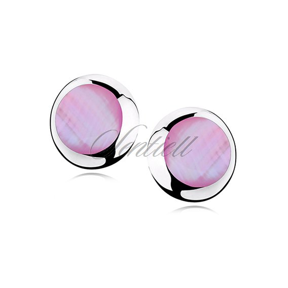 Silver earrings 925 round - Pink opal