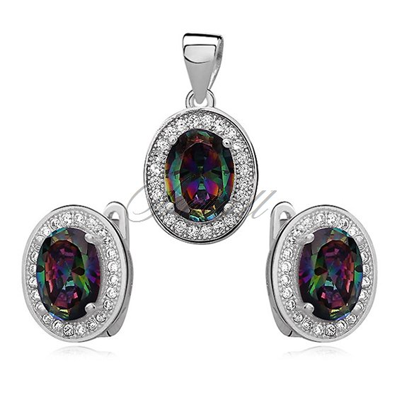 Silver elegant set (925) multicolor oval zirconia