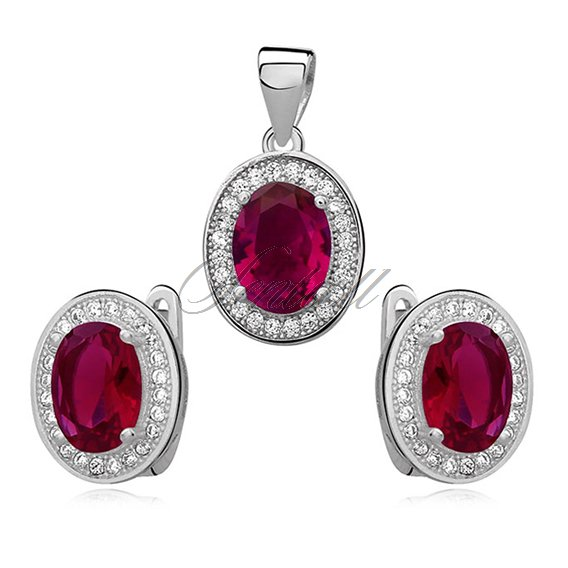 Silver elegant set (925) ruby oval zirconia