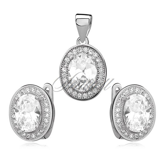 Silver elegant set (925) white oval zirconia