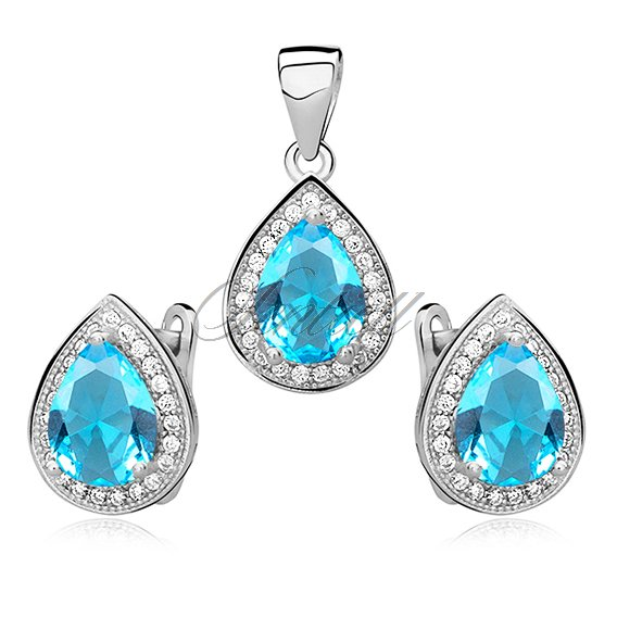 Silver fascinating set (925) zirconia - aquamarine teardrop