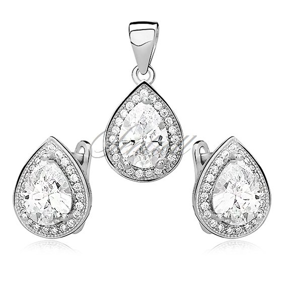 Silver fascinating set (925) zirconia - white teardrop