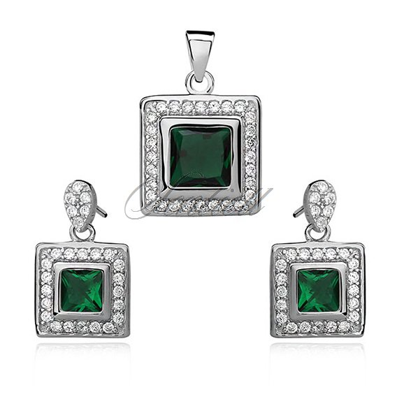 Silver set (925) emerald zirconia in double frame
