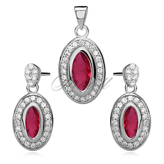 Silver set (925) ruby gemstone in zirconia frame