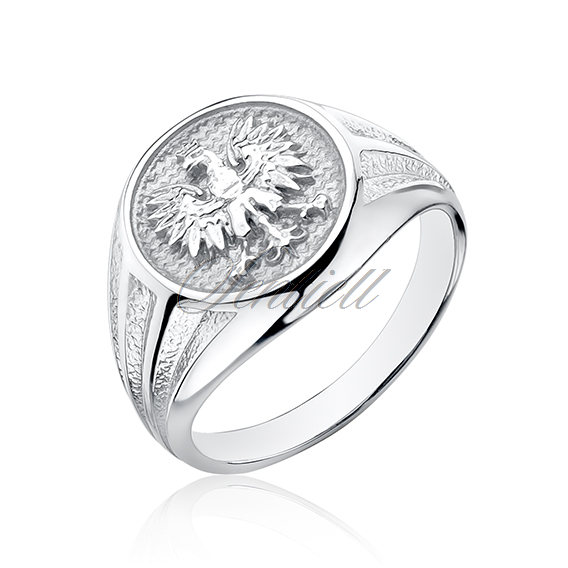 Silver signet ring 925 - crowned eagle - national symbol of Poland