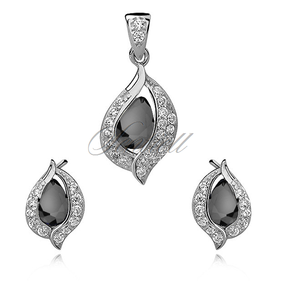 Silver, small set (925) black drop with white zirconia