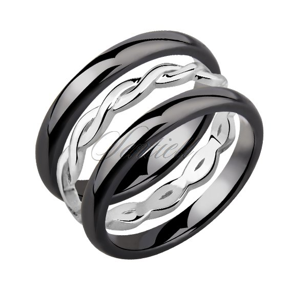 Two black ceramic rings and silver ring
