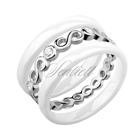 Two white ceramic rings and silver ring with zirconia - Infinity