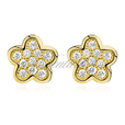 Silver (925) Earrings zirconia microsetting flowers gold plated