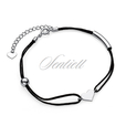 Silver (925) bracelet with black cord - heart