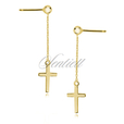 Silver (925) earrings - gold-plated crosses