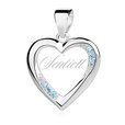 Silver (925) heart pendant with aquamarine zirconia