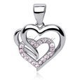Silver (925) triple heart pendant with light pink zirconia