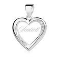 Silver (925) pendant white zirconia - hollow heart