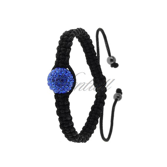 Rope bracelet (925) blue 1 disco ball