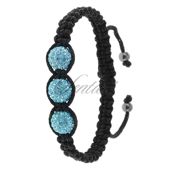 Rope bracelet (925) - light blue 3 disco balls