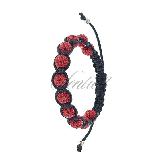 Rope bracelet (925) red 11 disco balls