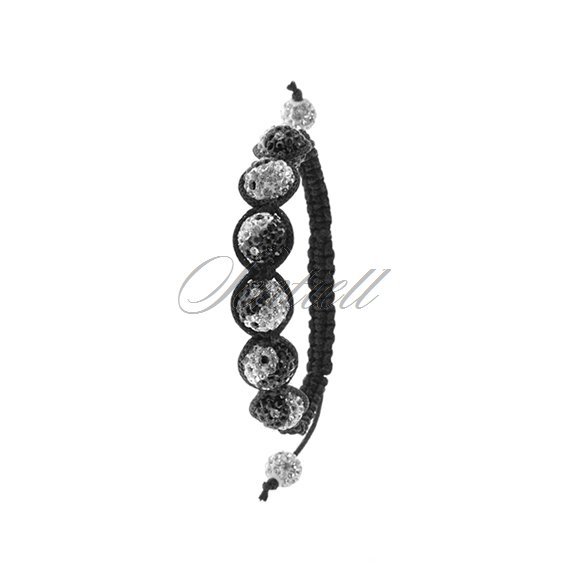 Rope bracelet (925) white with black pattern of ying yang