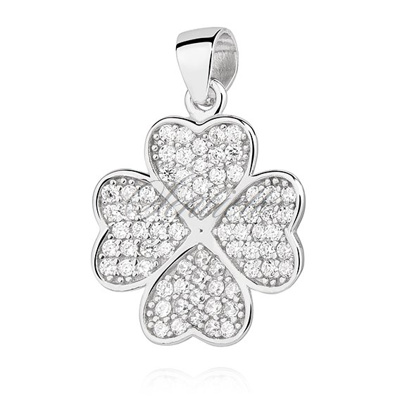 Silver (925) Clover pendant with zirconia