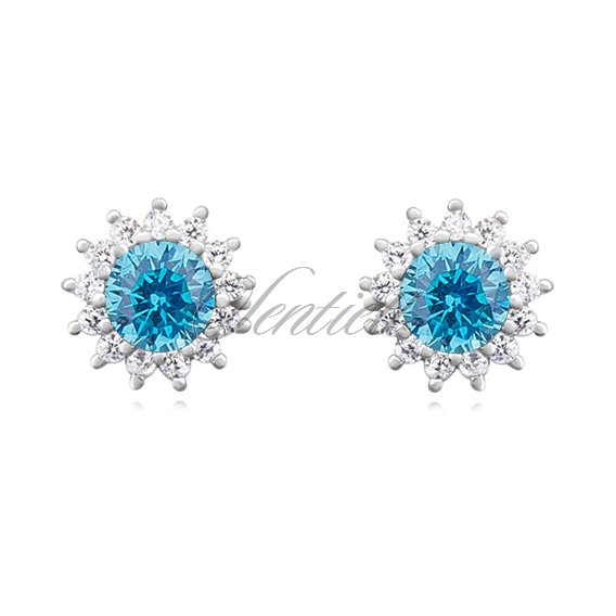 Silver (925) Earrings aquamarine colored zirconia