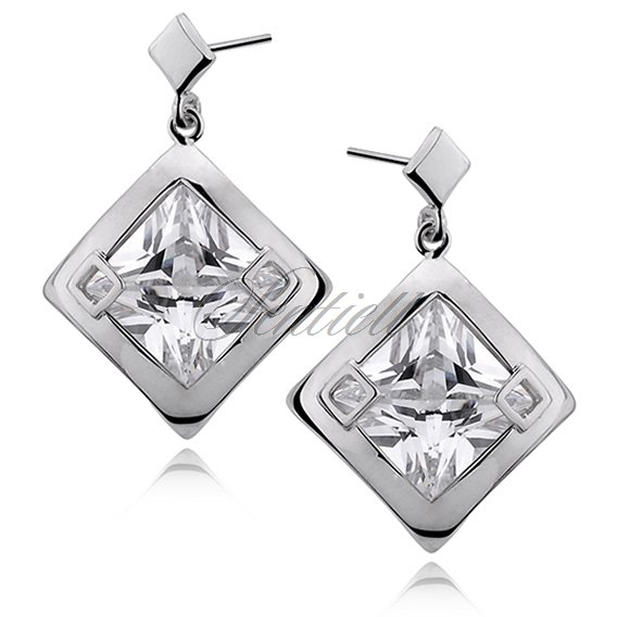 Silver (925) Earrings big white zirconia