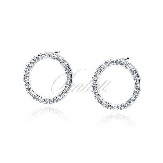 Silver (925) Earrings - cirlces with white zirconia