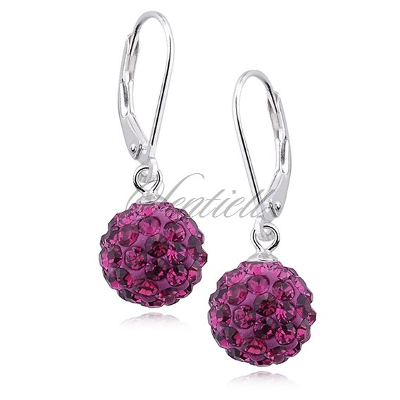Silver (925) Earrings disco ball 10mm fuchsia