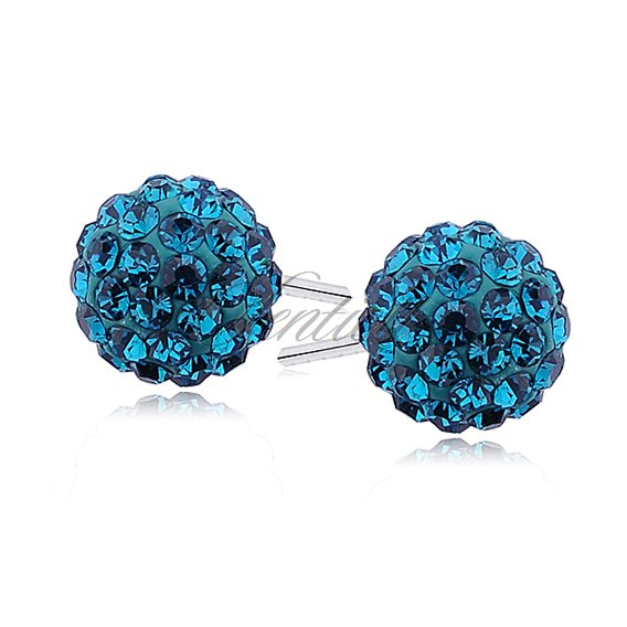 Silver (925) Earrings disco ball 8mm blue zircon