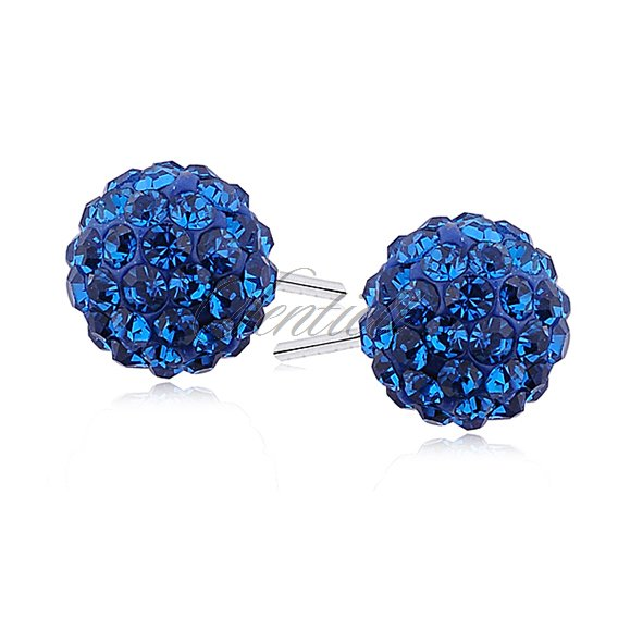 Silver (925) Earrings disco ball 8mm capri blue