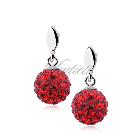 Silver (925) Earrings disco ball 8mm red