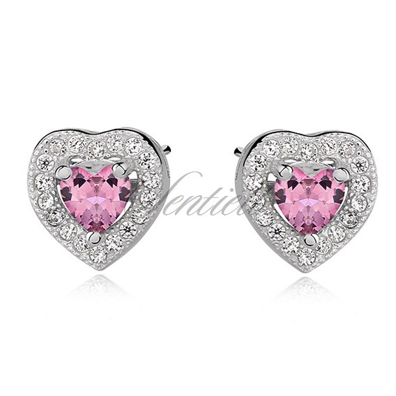 Silver (925) Earrings pink colored zirconia - hearts