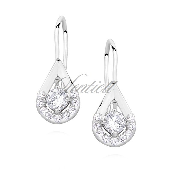 Silver (925) Earrings white colored zirconia
