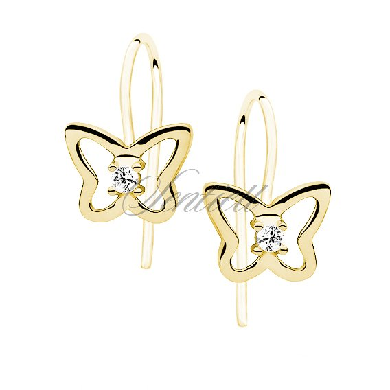 Silver (925) Earrings white zirconia-  butterflies gold-plated