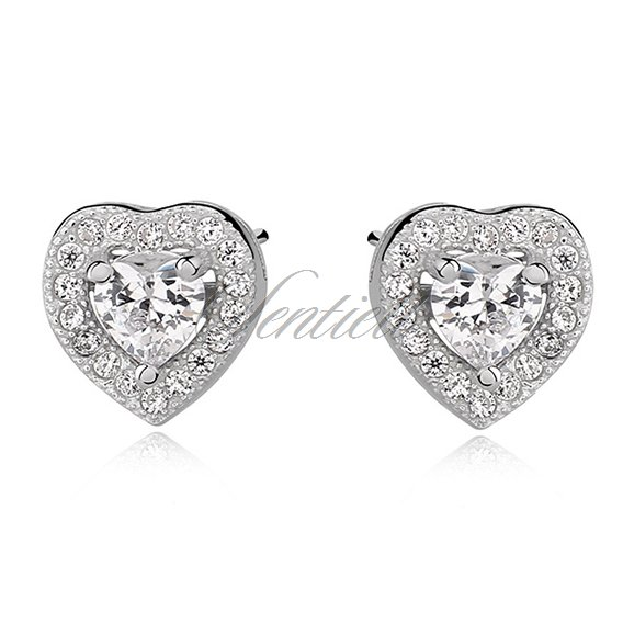 Silver (925) Earrings white zirconia - hearts