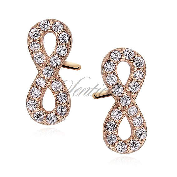 Silver (925) Earrings white zirconia - infinity gold-plated