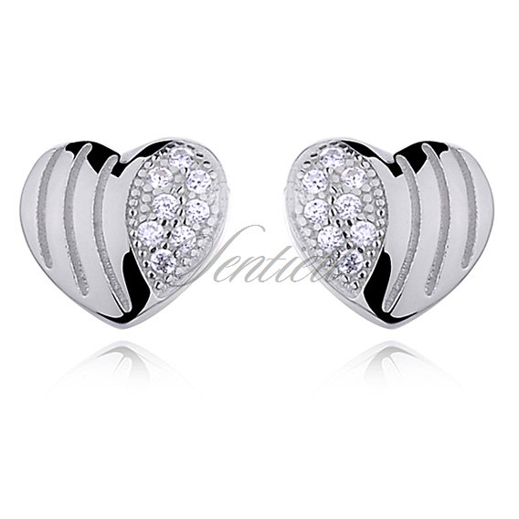 Silver (925) Earrings zirconia hearts microsetting