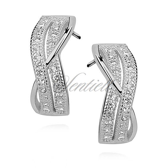 Silver (925) Earrings zirconia microsetting rhodium-plated
