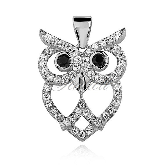 Silver (925) Owl pendant with zirconia